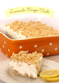 Lemonade Krispie Treats.  This is a delicious spin on Frozen Lemonade Pie.  It's so cool, creamy and refreshing!