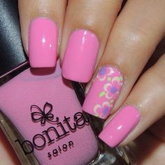 Pink floral mani that I did a couple days ago  I received polishes from Bonita colors and this is one of them! Isn't the pink so pretty?? I love their formula! Need to get more of their polishes!  Polishes used: @bonitacolors - pink rose & pear me up @essiepolish - play date @formulaxnail - invincible @glistenandglow1 - HK Girl topcoat