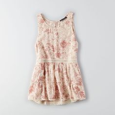 AEO High Neck Tank ($35) ❤ liked on Polyvore featuring tops, pink, a line tank top, lace trim tank top, american eagle outfitters, high neck tank and pink tank