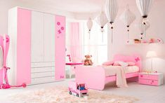 Dormitorio para niñas en rosa y blanco #DecoracionCuartoIdeas Pink Bedroom Design, Wardrobe Design Bedroom, Kids Bedroom Designs, Kids Room Design, Girls Bedroom Furniture Sets, Modern Kids Bedroom, Kids Bedroom Furniture, Retro Home Decor, Rooms Home Decor