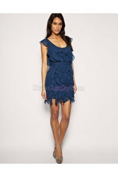 Blue Scoop Natural Short Sleeve Short/Mini Homecoming Dresses With Cascading Ruffle HD2590