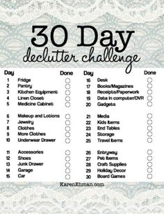FREE Printable || 30 Day Declutter Challenge at KarenEhman.com