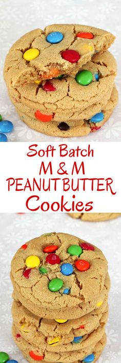 Big Soft Batch M & M Peanut Butter Cookies #peanutbuttercookies #cookies #christmascookies #softbatchcookies #cookietray #cookieexchange