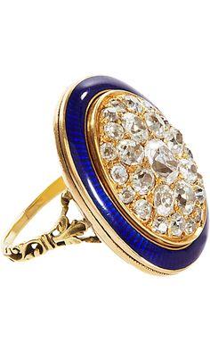 Olivia Collings Antique Diamond & Enamel Oval Ring