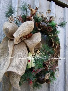 Christmas Wreath Holiday Wreath Country by NewEnglandWreath