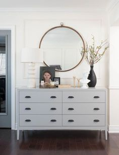 dresser decor Grey dresser, round mirror, vase with greenery, tabletop styling Studio McGee Bedroom Dresser Styling, Bedroom Dressers, Bedroom Furniture, Dresser Top Decor, Interior Styling, Interior Decorating, Interior Design, Decorating Ideas, Grey Dresser