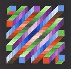 Artwork by Victor Vasarely, Retze, Made of Collage of light painted board Más Patchwork Quilt, 3d Quilts, Barn Quilts, Quilt Square Patterns, Quilt Block Patterns, Square Quilt, Optical Illusion Quilts, Art Optical, Optical Illusions