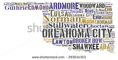 Word Cloud in the shape of Oklahoma showing some of the cities in the state - stock photo