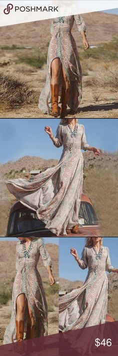 "COMING SOON Sexy Chiffon Boho Summer Maxi Dress Arriving soon to my store. Click LIKE to be alerted when it arrives. Only two will be available.   100% brand new and high quality.  Absolutely gorgeous beige and blue chiffon boho beach dress.   Material: 100% Chiffon   Measurements: Length: 57.5"" Shoulder to Shoulder: 14.5"" Bust: 35.4"" Waistline: 19""-33"" (elasticized) Sleeves: 17.3"" Dresses Maxi"