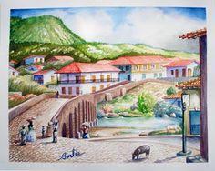 Tegucigalpa en sus inicios, Hector Cortes - Pintor y fotografo hondureño Acuarelas (watercolor) de Tegucigalpa y Yuscaran, Honduras