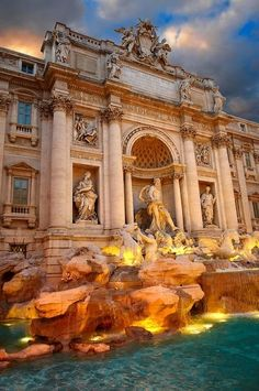 Trevi Fountain, Rome Italy - tradition says if you throw a coin in the fountain you will one day return to Italy.
