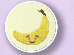 Happy Banana. Fruit Cross Stitch PDF Pattern by andwabisabi