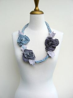 Felted  Fiber Necklace Silver Grey Long by realfaery on Etsy, $45.00