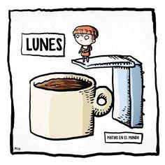 Empezamos la semana con esta descripción gráfica de los lunes de la mano de #matiasenelmundo ¡Ánimo con el lunes! No hay nada que no solucione una buena taza de café y una sonrisa #happymonday #mondays #butfirstcoffee #coffeetime #goodmorning
