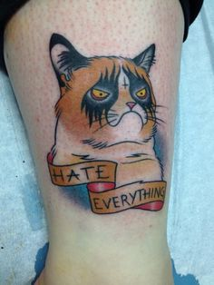 A Grumpy Cat tattoo. Completely awesome, if you ask me (Grumpy Cat himself may disagree though :D). Meme Grumpy Cat, Cat Memes, Grumpy Kitty, Grumpy Car, Kitty Kitty, Trendy Tattoos, Tattoos For Guys, Cool Tattoos, Crazy Tattoos
