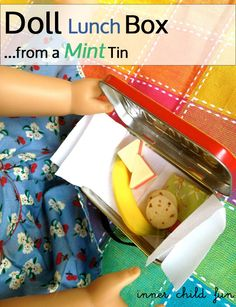 Having a doll party? Make some lunch boxes for the dolls from empty mint tins for favors! #kids