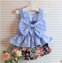 2015 nový přišel v létě stylu děti oblečení nastavit Děvčátka obleky dětské oděvy roztomilých šaty + kalhotky 2ks Conjunto Meninas (Čína (pevninská část))