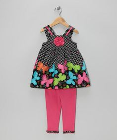 Take a look at this Black Butterfly Tunic & Pink Leggings - Infant, Toddler & Girls by Youngland on #zulily today!