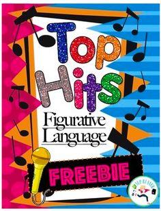 Top Hits Figurative Language FREEBIE for upper grades
