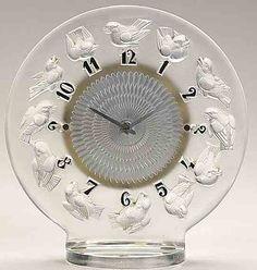 Lalique Rossignols Table Clock