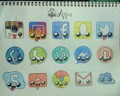 Image score for kawaii apps … - Trend Pencil Drawings 2020 App Drawings, Cool Art Drawings, Simple Drawings, Doodle Drawings, Drawing Art, Drawing Ideas, Easy Drawings For Beginners, Easy Drawings For Kids, Cute Animal Drawings Kawaii