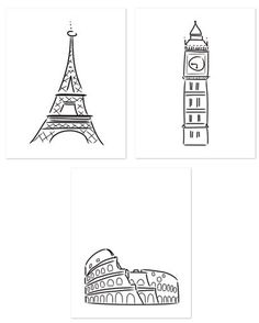 European Collection Letterpress Prints, 3 prints 16x20""