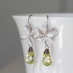 Silver Orchid Lemon Yellow Zirconia Drop Dangle by YuniDesigns