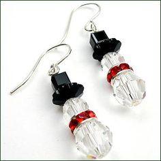 Swarovski Crystal Snowmen Earrings - How to Bead | Earring Designs to Inspire