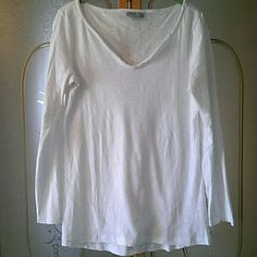 White cotton T Hardly worn white cotton long sleeved tshirt. 100% cotton. 5 buttons at collar. Very cute and comfy. 28 inches long. ESPRIT Tops Tees - Long Sleeve