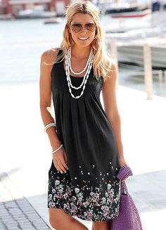 Beachtime Black Petal Print Sun Dress