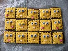 SpongeBob Chocolate sugar cookies covered in fondant for papa Cake Cookies, Sugar Cookies, Cupcake Cakes, Buttercream Cupcakes, Frosting, Brownie Icing, Sponge Bob Cupcakes, Cute Food, Yummy Food