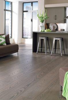 ASH Prefinished hardwood flooring from Carlisle Wide Plank Floors. Look of gray wood floors with black windows Ash Flooring, Wide Plank Flooring, Engineered Hardwood Flooring, Birch Floors, Grey Wood Floors, Prefinished Hardwood, Installing Hardwood Floors, Carlisle, Black Windows