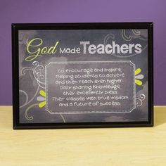 ~ God Make Teachers Plaque ~ to encourage and inspire. Helping Students to achieve and then reach even higher. Daily sharing knowledge, they excellently bless Their classes with true wisdom and a future of success. Christian Book Store, Teacher Appreciation, Wall Signs, Teacher Gifts, Great Gifts, Encouragement, Blessed, Knowledge, Wisdom