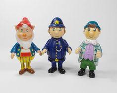 Noddy - Mr Sparks, Big Ears & PC Plod - Mini Toy Figures X 3 - 6 cm Tall