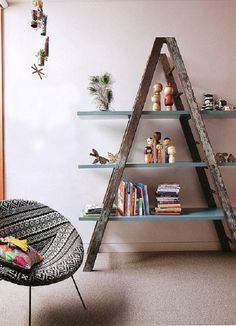 Upcycled ladder into shelves #Bookshelf, #Ladder, #Repurposed, #Reused