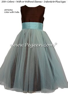 Brown and Bahama Breeze Blue Silk and Tulle Flower Girl Dress | Pegeen