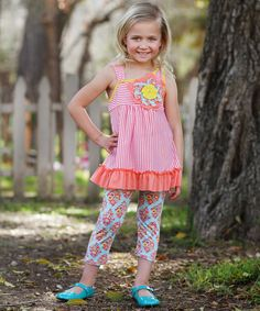 Loving this Freckles + Kitty Coral Floral Ruffle Tunic & Pants - Toddler & Girls on #zulily! #zulilyfinds