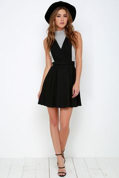 JOA Sophomore Sweetheart Black Pinafore Dress at Lulus.com! I love this dress so much!!!