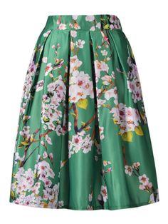Almond floral skirt , www.cheris.ro