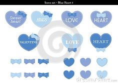 A set of icons of hearts with blue color theme