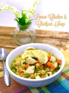 Soup really IS good food! This is a Lemon Chicken & Chickpea soup that is healthy, hearty and easy to make for those busy weeknights. I love this soup!