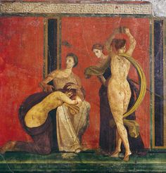 Detail of flagellation and a dancer from the fresco cycle at the Villa of the Mysteries. Fresco from the Villa of the Mysteries. Pompeii Art and Architecture Gallery Ancient Rome, Ancient Art, Ancient History, Pompeii Italy, Pompeii And Herculaneum, Roman History, Art History, Graffiti History, Fresco