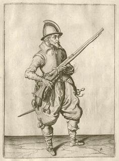 Pow! Gheyn, Jacob de, 1565-1629. Maniement d'armes, d'arquebuses, mousquetz, et piques, 1607.  War 4076.08.3  Houghton Library, Harvard University