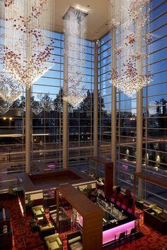 Fiber optic atrium lights at Hilton Warsaw Hotel & Convention Centre, Poland