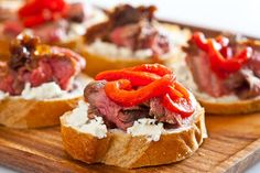 Flank Steak with Goat Cheese on Toast ~ http://steamykitchen.com