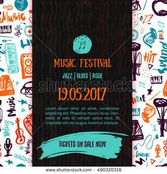 Music concert vector poster template. Can be used for printable concert promotion with lettering and doodle music items.