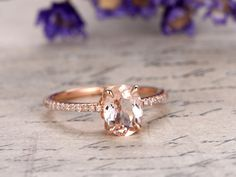 gemstone and diamond engagement ring in solid gold 14/18k white/yellow/rose gold available. Diamonds can be upgraded. Ring setting can be made. Ring can be resized. 30-Day Money Back guarantee.Customer Office in USA. Free Shipping to US. Jewelry Details: 6x8mm Oval cut VVS natural pink morganite 0.2ct natural SI-H diamonds    Normally the ring needs 2-3 weeks to finish as it is handmade.Rush order available,you can ask me make your jewelry in rush if needed,it may take 7 busin...