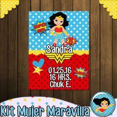 KIT MUJER MARAVILLA - Kitcandyparty Wonder Woman Birthday, Wonder Woman Party, Hero Girl, Ideas Para Fiestas, Superhero Party, 5th Birthday, Birthday Decorations, Diy And Crafts, Invitations