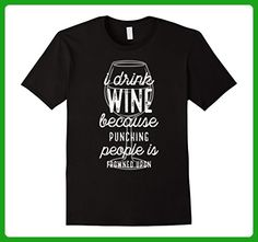 Mens Funny T-Shirts I Drink Wine Because Purple Large Black - Food and drink shirts (*Amazon Partner-Link)