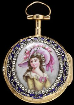 Enamelled Gold Watch Set With Paste, Movement Set In Silver - Made By Abraham Collomby (Watchmaker) - Geneva, Switzerland   c.1760-1770